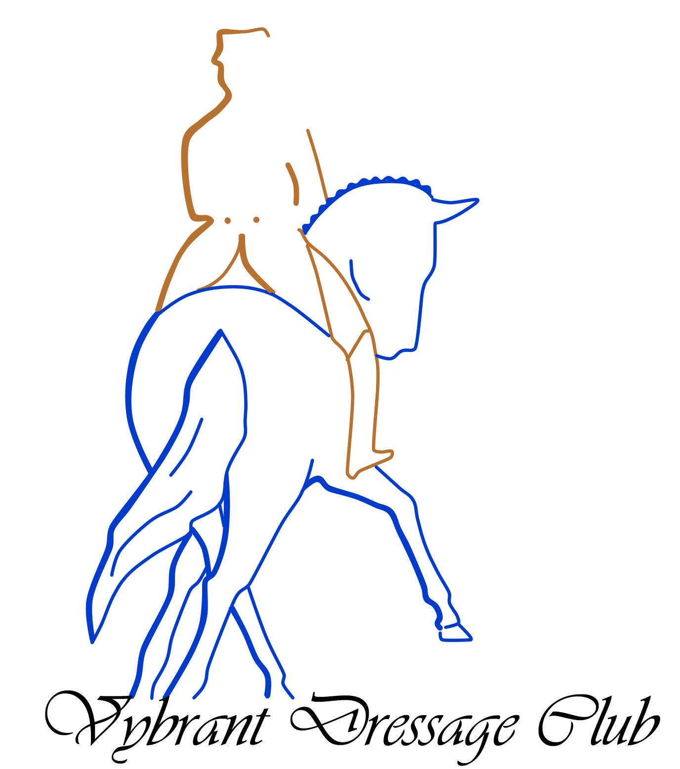 Copper and navy horse logo